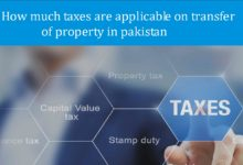 How much taxes are applicable on transfer of property in pakistan