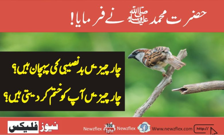 Prophet Muhammad (peace be upon him) said: Four things are the sign of misfortune?