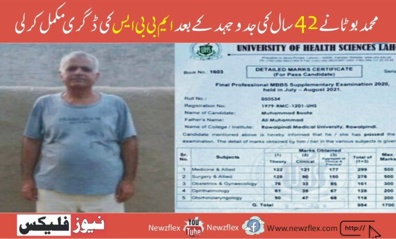 Muhammad Boota completed his MBBS degree after 42 Years of struggle